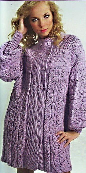Схема вязания пальто спицами