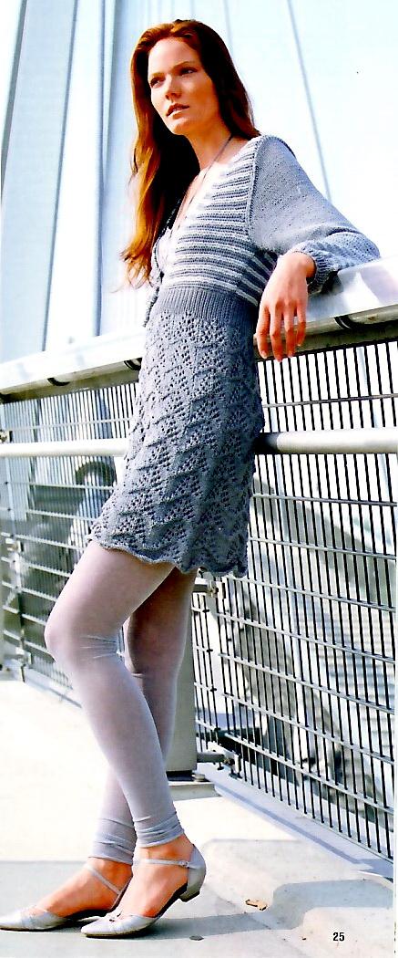 Мини- платье спицами в серых