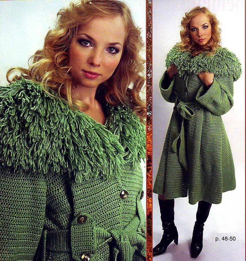 Вязаное пальто, схема.  Приёмы вязания.