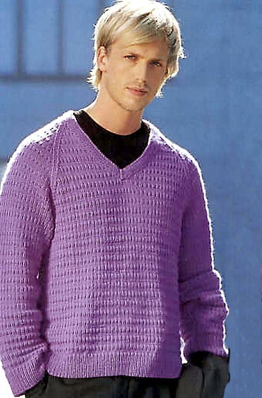 Сиреневый пуловер для мужчин с