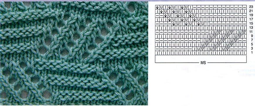 Двусторонние ажурные узоры для шарфов