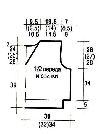 Схема вязания спицами 52-54 размеры