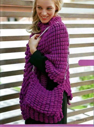 Вязание спицами: пончо и сумочка- Модель из журнала Сюзанна.