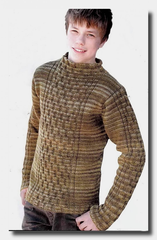 мужской джемпер в полоску схема спицами