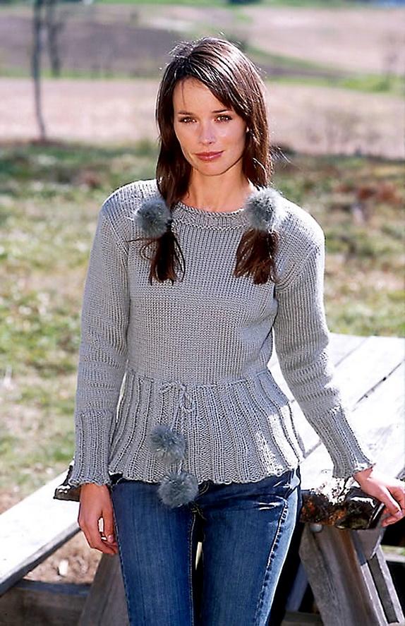 Серый пуловер с кулиской по