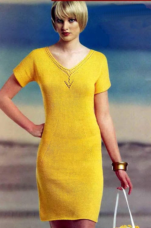 схема вязки ярких теплых платья