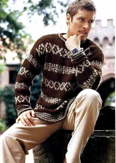 Пуловер для мужчин связанный спицами.  Схема вязания спицами.