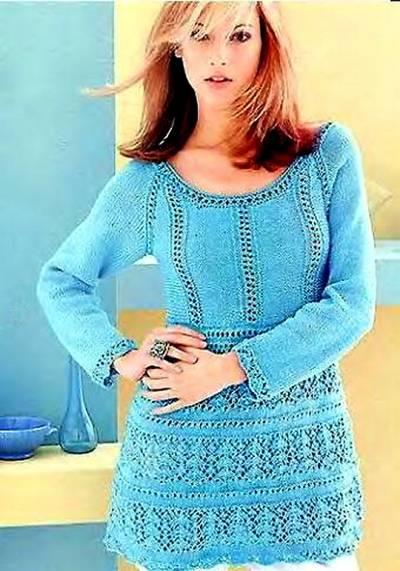 Вязание спицами: туника-пуловер кружевная.