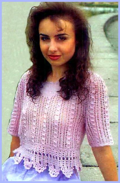 Ажурный пуловер женский на спицах, схема.  Нежно-розовый пуловер - для тех, кто предпочитает неяркие тона.