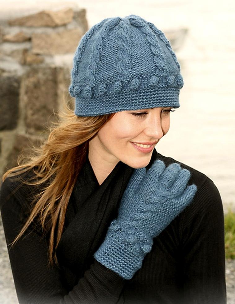 Вязание спицами шапок.  Синяя шапочка.