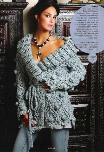 Пальто грубой вязки Размеры:36-40 Вам потребуется: 1 050 г голубой пряжи Music Style Collection ROCK...
