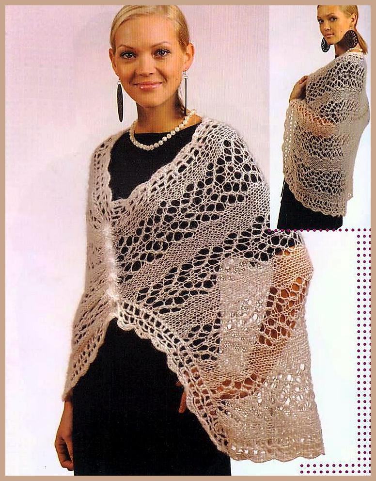 Схемы для вязания шалей спицами.