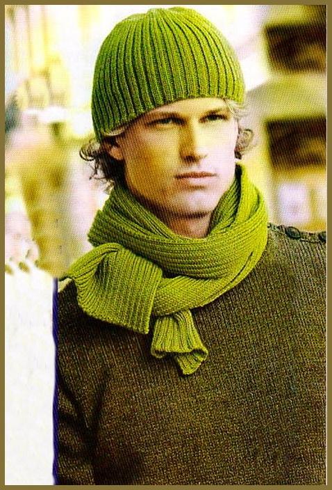 Мужские шарф и шапка связанные
