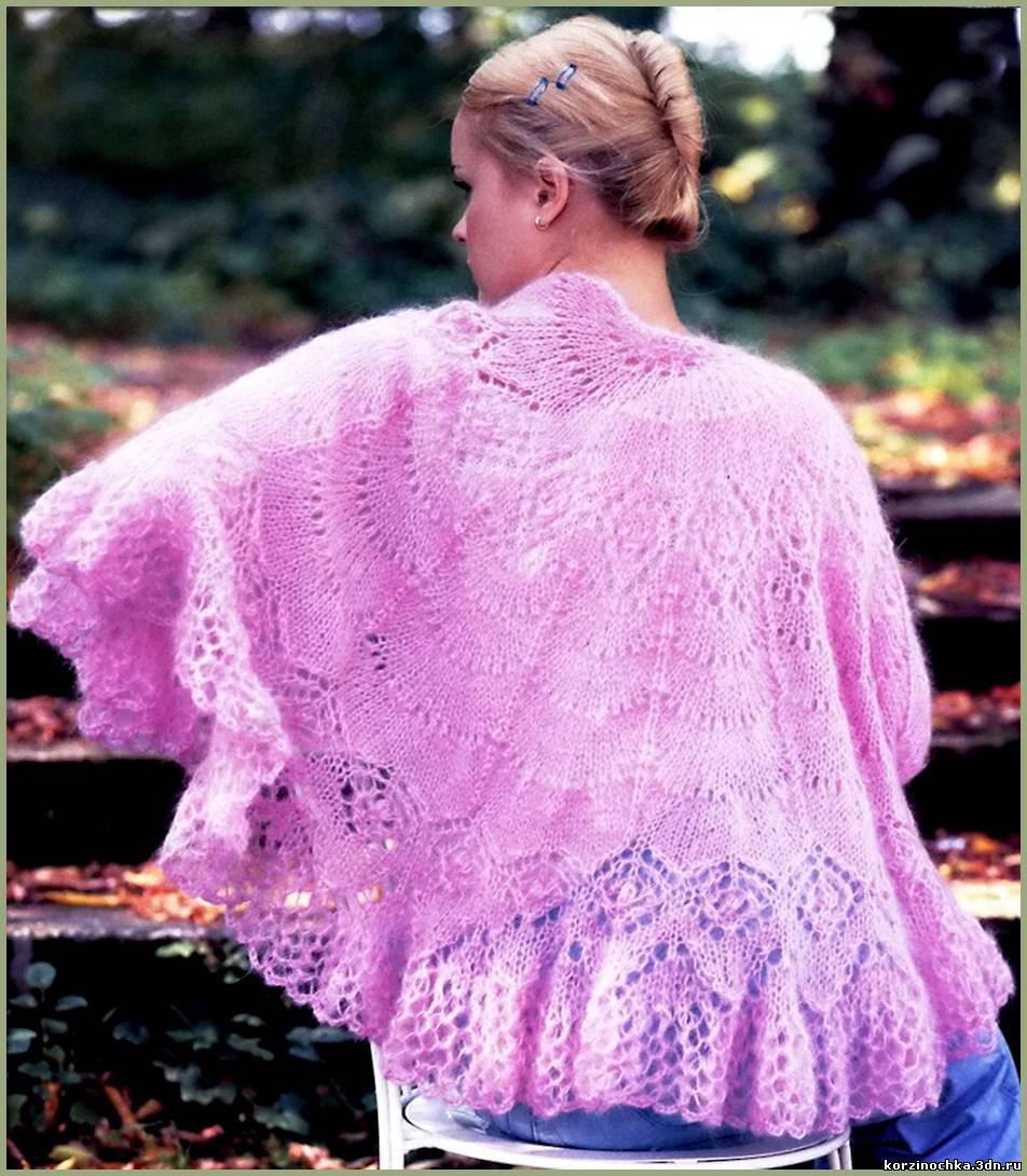 розовая шаль спицами схемы лучшее