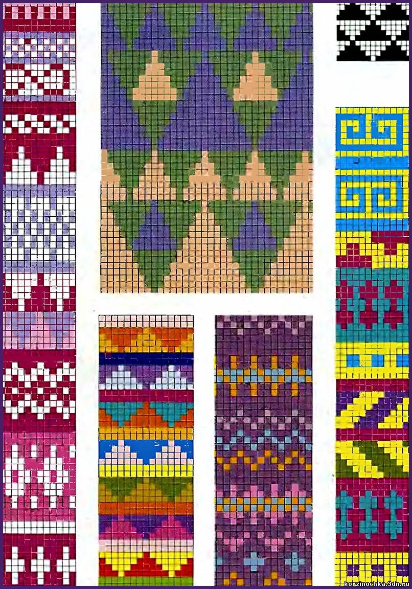 Орнаменты и схемы для вязания на спицах