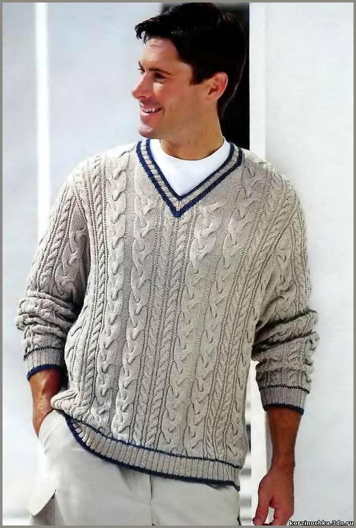 Мужской пуловер связан