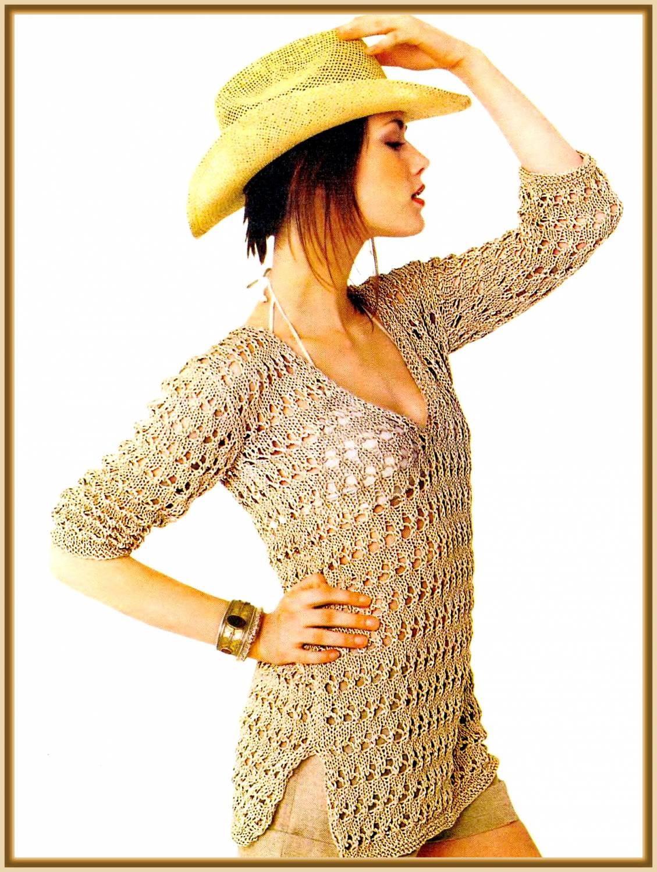 """Ажурный пуловер  """"Узорная сказка """" Размер 44 МАТЕРИАЛЫ 500 г хлопчатобумажной пряжи средней толщины песочного цвета."""