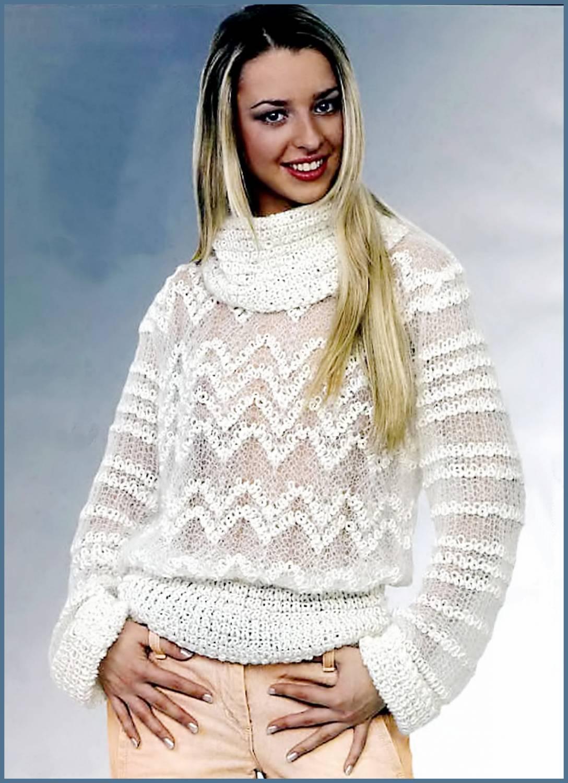 Пуловер с жемчужным узором Дополнительный эффект жемчужный узор, похожий на облака.  Необычное решение - сочетание в...