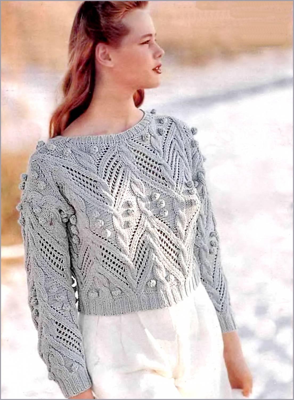схема вязания спицами свитер женский из махера