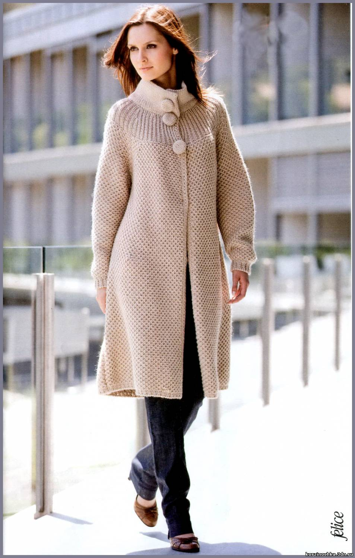 Связать пальто спицами 48 размер