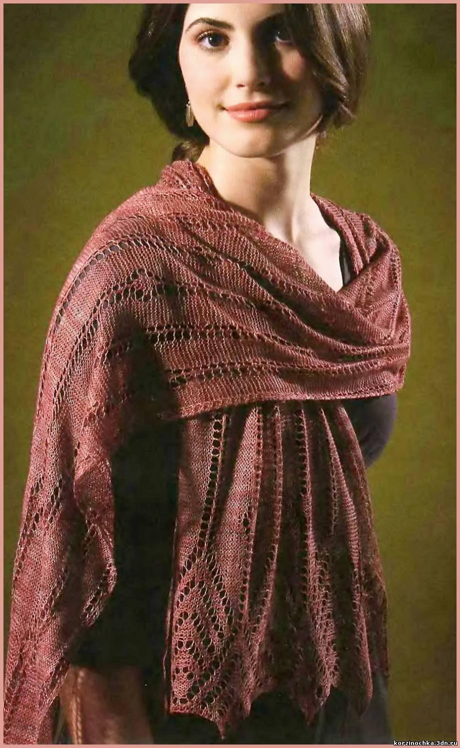 Вязаные спицами ажурные шали
