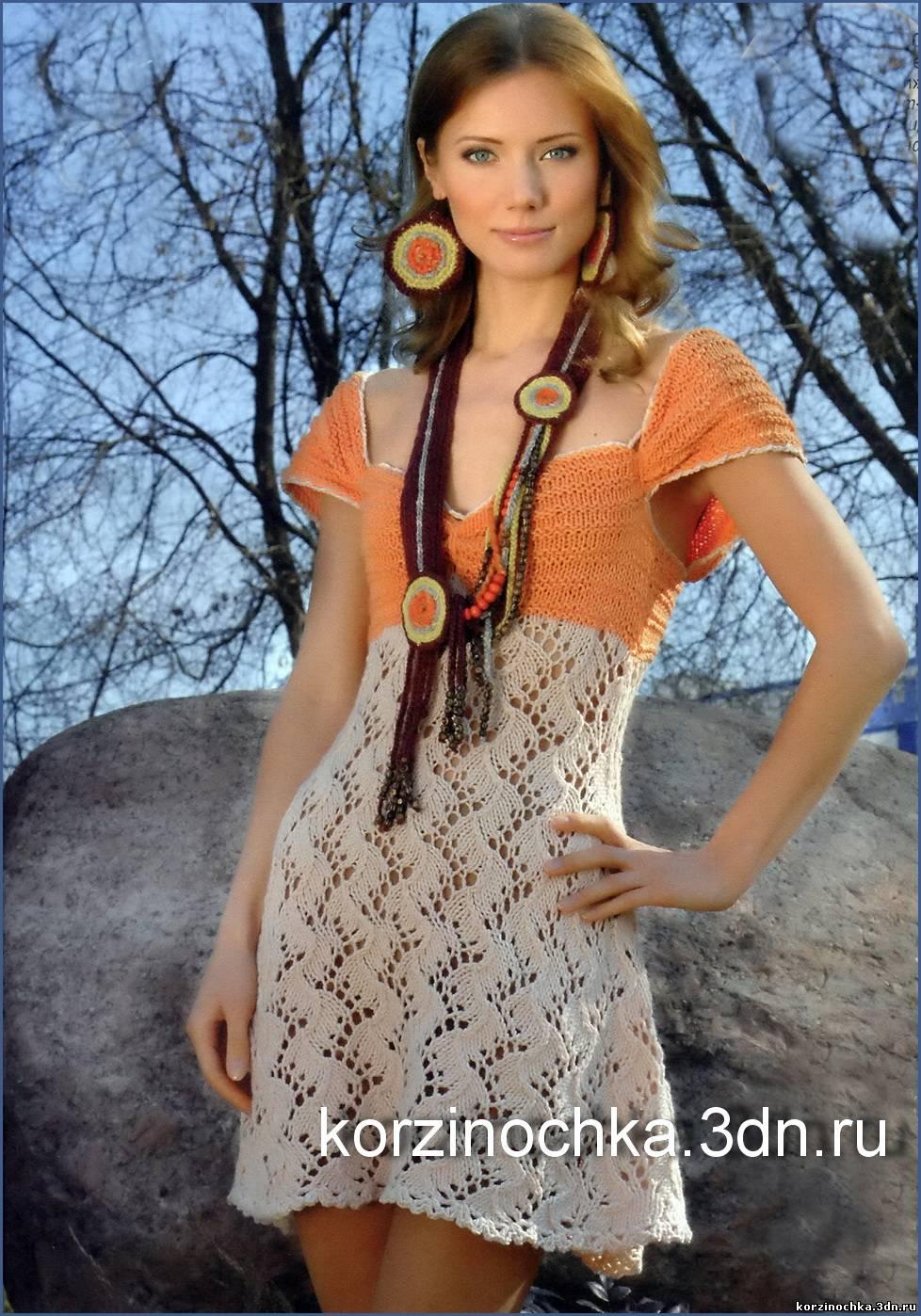 Вязание платье с кокеткой
