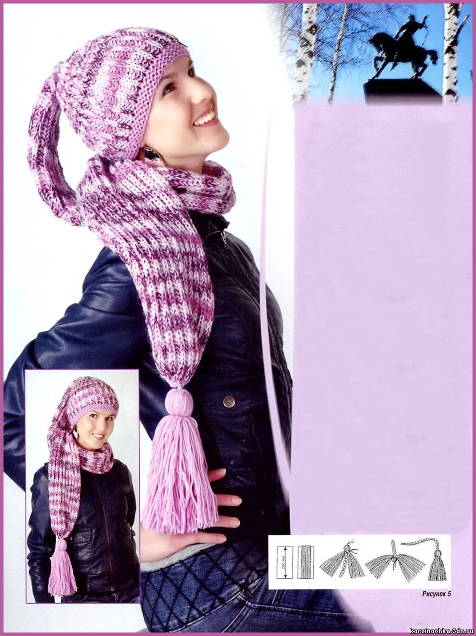 Молодежная модель шапка-шарф, связанная спицами из секционноокрашенной пряжи. http://korzinochka.3dn.ru/news/shap...