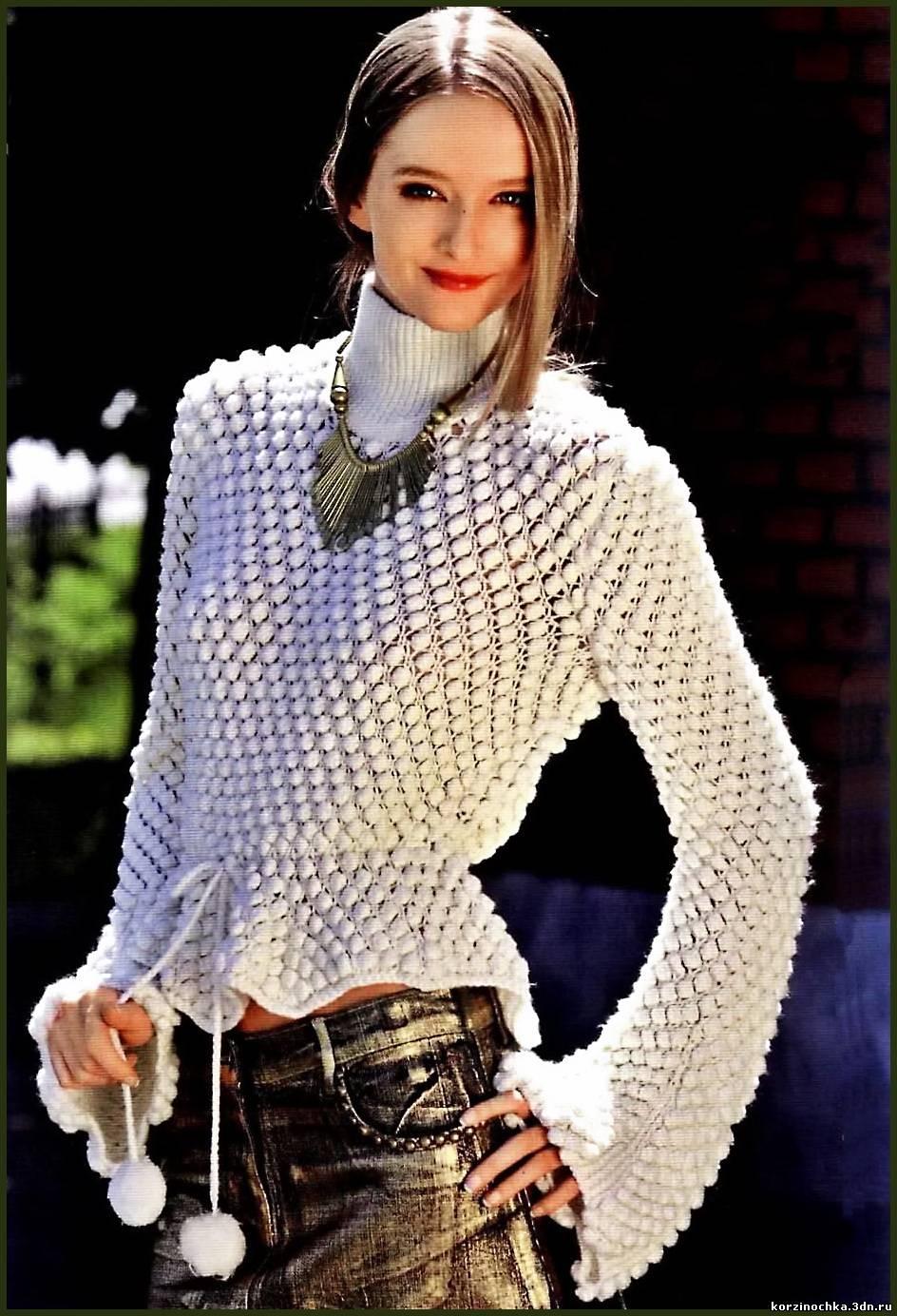 Вязание модного свитера на девочку