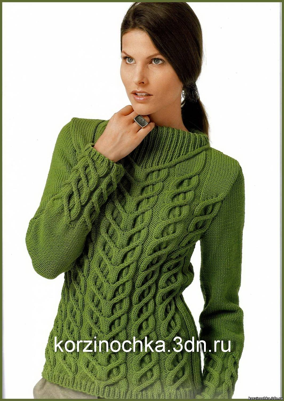 Вязание свитера узорами на спицах 57