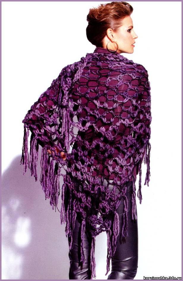 Шаль спицами в фиолетово-серой