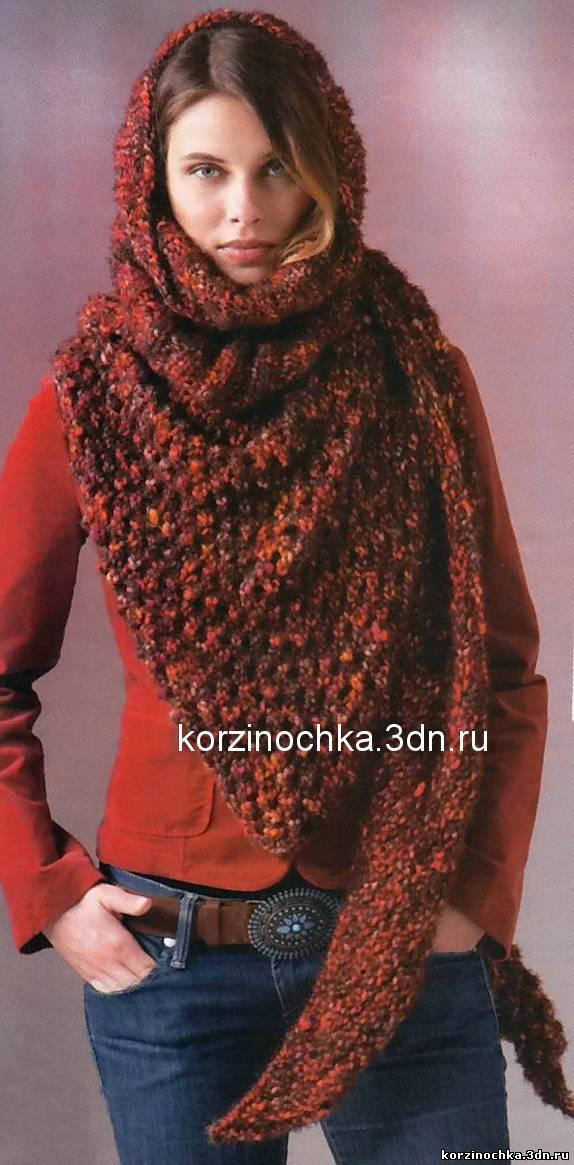 Вязание треугольного шарфа 58