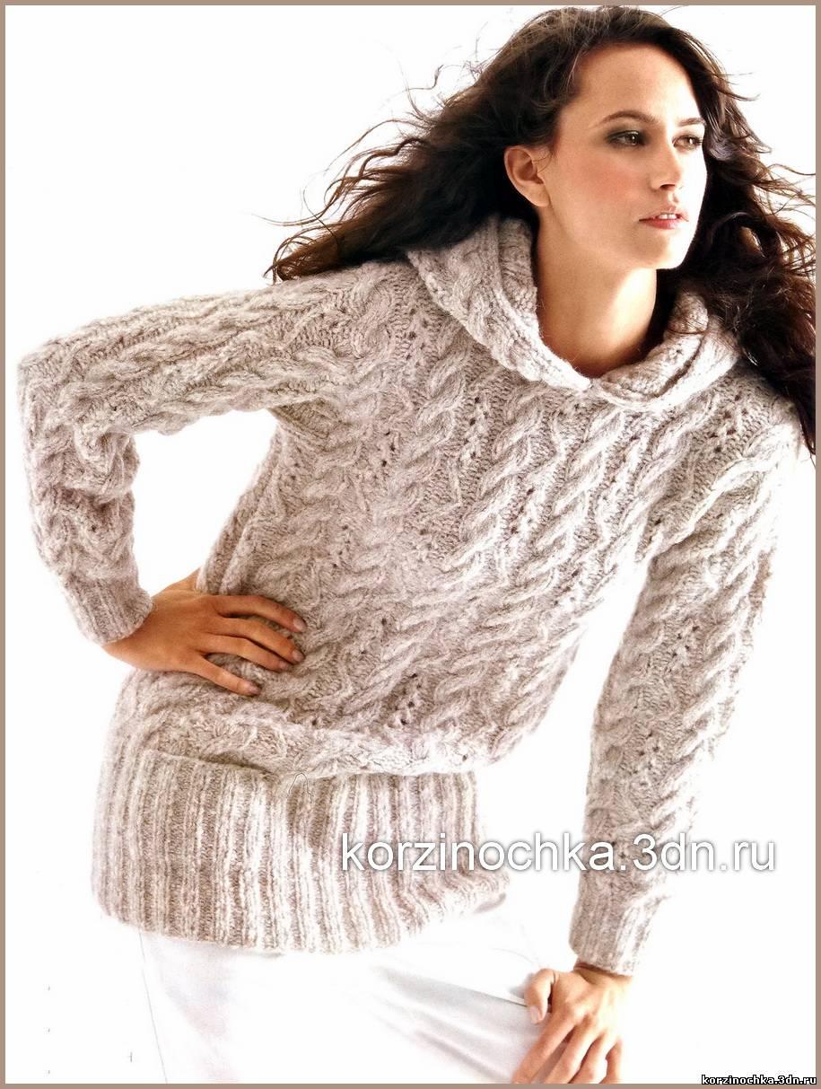 Вязаный Пуловер С Капюшоном