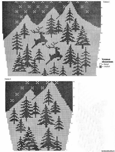 Схема вязанного свитера с оленями