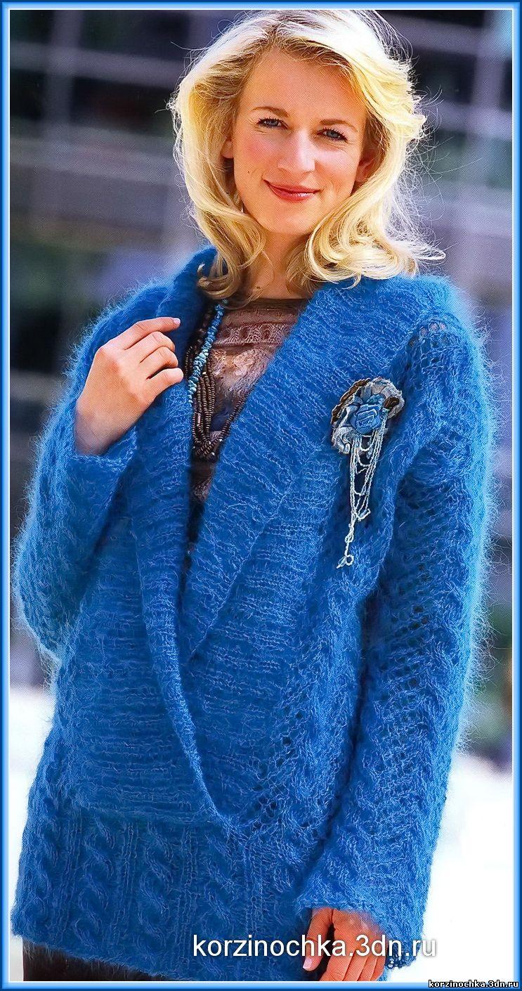 теплый пуловер из мохера спицами схемы