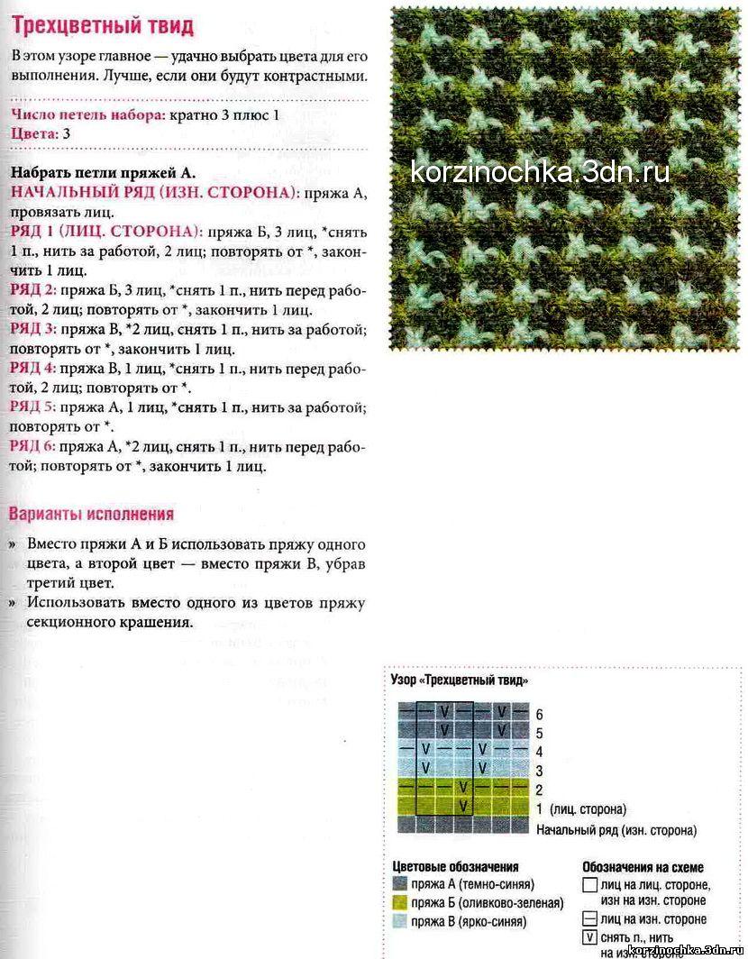 Ленивые узоры два цвета вязание спицами схемы 57