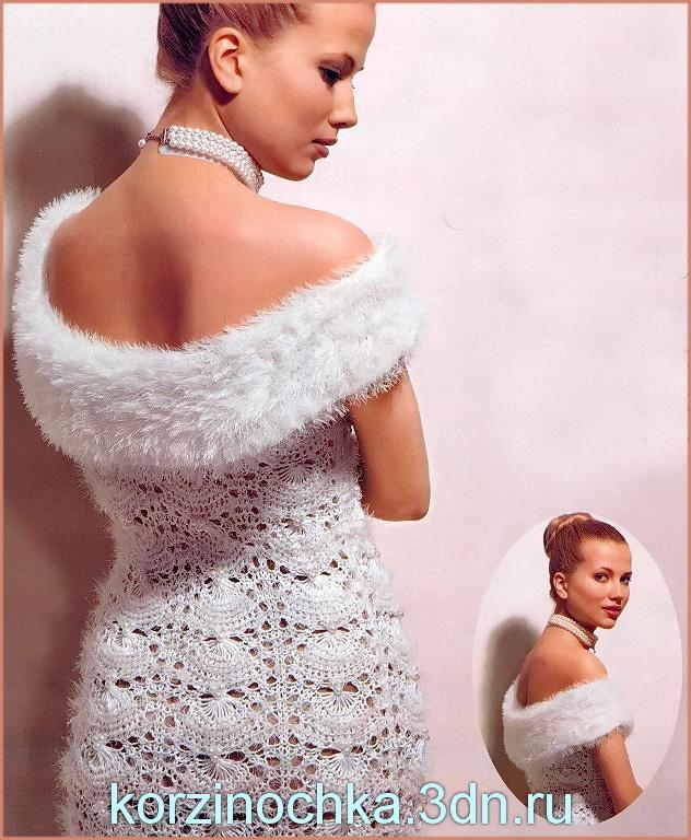 Схема вязания платья спицами.