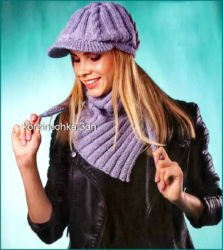 Женская вязаная спицами кепка